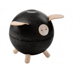 Hucha cerdito de madera negro